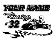 Personalized Go Kart Racing v3 Decal Sticker