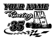 Personalized Quarter Midget Racing 2 Decal Sticker