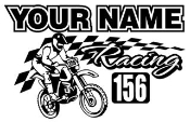 Personalized Motocross Racing v1 Decal Sticker