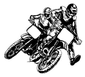 2 Motocross Racers Decal Sticker
