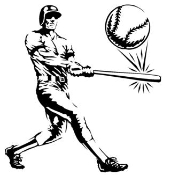Batter Hits Ball Decal Sticker
