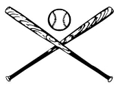 Crossed Bats and Ball Decal Sticker