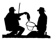 2 Fisherman Silhouette Decal Sticker