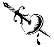 Heart Pierced With Dagger Decal Sticker