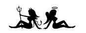 Angel and Devil Girls Decal Sticker