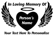 Memorial Heart with Wings 1 Decal Sticker