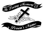 Memorial with Cross 2 Decal Sticker