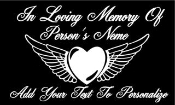 Memorial with Heart and Wings 2 Decal Sticker
