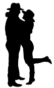 Cowboy Couple Silhouette Decal Sticker