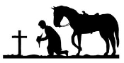 Cowboy Kneeling at Cross Decal Sticker
