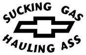 Sucking Gas Chevy Decal Sticker