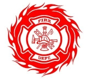 Flaming Fire Dept Shield Circle Decal Sticker