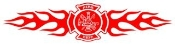 Fire Dept Shield with Flames 2 Decal Sticker