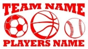 Personalized Soccer-Basketball-Baseball 2 Decal Sticker