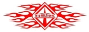 International Diesel with Flames v2 Decal Sticker