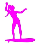 Surfer Girl Silhouette 1 Decal Sticker