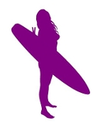Surfer Girl Silhouette 2 Decal Sticker