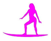 Surfer Girl Silhouette 5 Decal Sticker