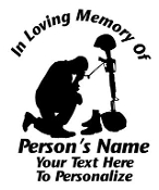 Military Fallen Soldier Memorial 2 Decal Sticker