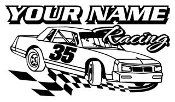 Personalized Stock Car Racing 1 Decal Sticker