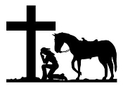 Cowgirl At Cross v1 Decal Sticker