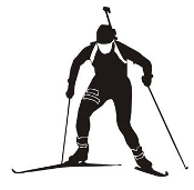 Biathlon Ski Silhouette v7 Decal Sticker