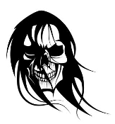 Skull with long hair Decal Sticker