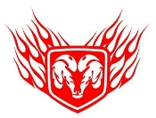 Ram Shield with Flames v4 Decal Sticker