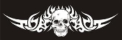 Skull with Tribal Graphics Decal Sticker