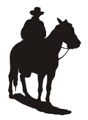 Cowboy on Horseback Silhouette v3 Decal Sticker