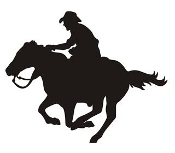 Cowboy on Horseback Silhouette v4 Decal Sticker