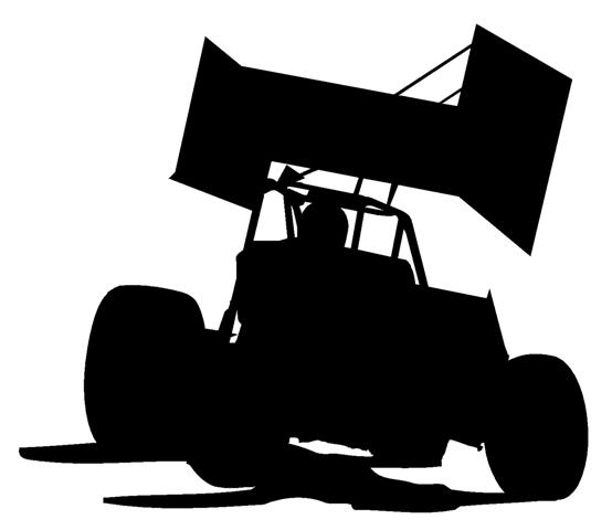 Sprint Car Silhouette Decal  Race Car Silhouette