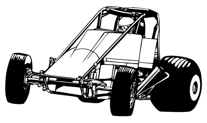 Wingless Sprint Car Decal Sticker