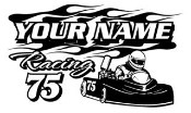 Personalized Go Kart Racing v8 Decal Sticker