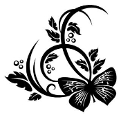 Butterfly On Plant Design Decal Sticker