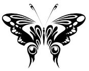Tribal Butterfly v6 Decal Sticker