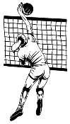 Volleyball Player Spike Over Net Decal Sticker