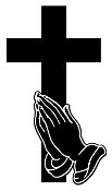 Cross with Praying Hands Decal Sticker