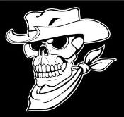 Cowboy Western Skull v2 Decal Sticker