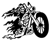 Skeleton Reaper on Chopper Motorcycle Decal Sticker