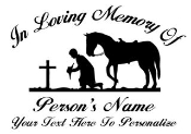 Memorial Cowboy at Cross Decal Sticker