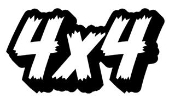 4x4 Jagged Letters Shadowed Decal Sticker