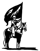 Flag Girl on Horseback Decal Sticker