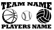 Personalized Basketball-Softball-Volleyball 2 Decal Sticker