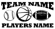 Personalized Baseball-Basketball-Football 2 Decal Sticker