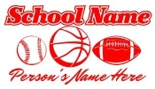 Personalized Baseball-Basketball Football Decal Sticker