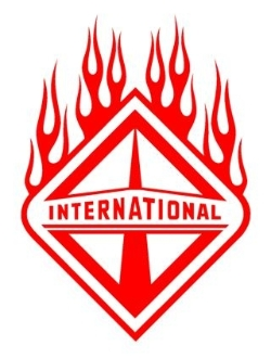 International Diesel with Flames v1 Decal Sticker