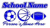 Personalized Soccer-Basketball-Football Decal Sticker