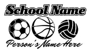 Personalized Soccer-Basketball-Volleyball Decal Sticker
