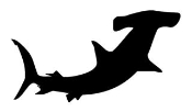 Hammerhead Shark Silhouette v1 Decal Sticker